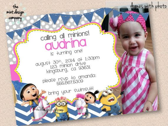 Add Your Photo To This Super Cute Agnes Despicable Me Party Invite By Themintdesigncompany 1500