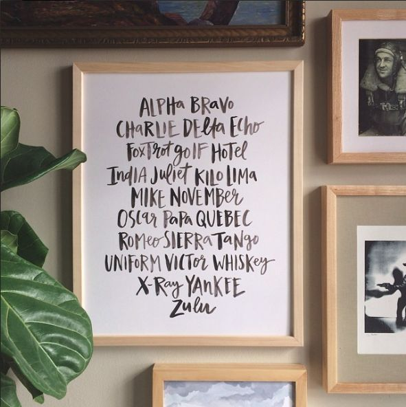 The phonetic alphabet spelled out in beautiful hand-lettering. So fun for a military family! | Alpha Bravo Charlie by @1canoe2