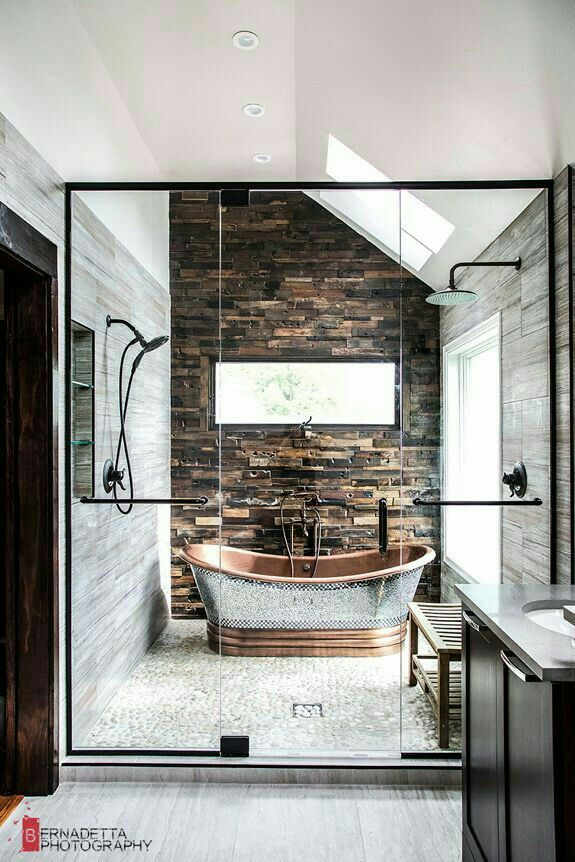 Wow! #ShowStopper bathroom with great mix of textures & colors