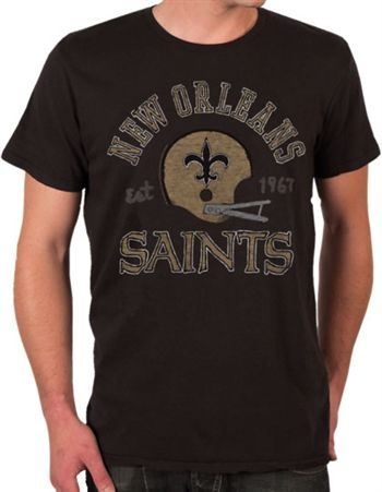New Orleans Saints Shirt by Junk Food  This officially licensed NFL shirt by Junk Food features a vintage print of the New Orleans Saints team helmet along with the year the team was established.    Fabric Details        Color: Black Wash      100% cotton    Our Price: $24.95  - See more at: http://www.oldschooltees.com/New-Orleans-Saints-Shirt-by-Junk-Food-p/nfl023.htm#sthash.lGruWjiT.dpuf