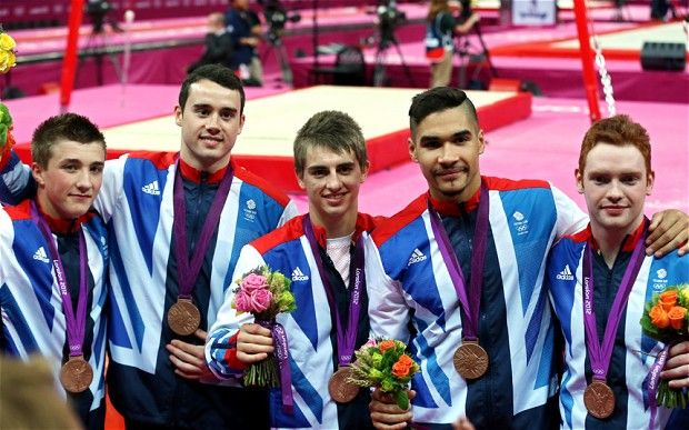 London 2012 Olympics: Team GB gymnasts silver medallists. Well done lads.