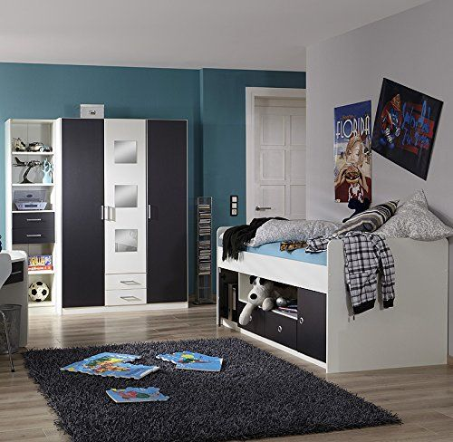 3 tlg kinderzimmer wei anthrazit jugendbett regal kleiderschrank jugendzimmer kinderzimmer. Black Bedroom Furniture Sets. Home Design Ideas