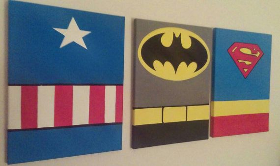 READY TO SHIP: 3pc Canvas Wall Art 12 x 16 Superhero Inspired Canvas Wall Art, Ready to Hang.  Gorgeous Canvas Wall Fan Art featuring Batman, Captain America, and Superman.  > Gorgeous Vibrant Colors! > Edges are painted so there is no need for a frame. > Ready to hang with a saw tooth hanger on the back of each painting. No tools or assembly required. > Ready to ship, no wait... except for delivery time :-) > Each canvas is 12 x 16. 3 D I S C L A I M E R <3I do not take credit for this…