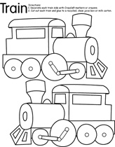 Dec 26. Color train coloring page already copied. Add glitter