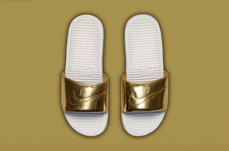 Gold Nike Slides