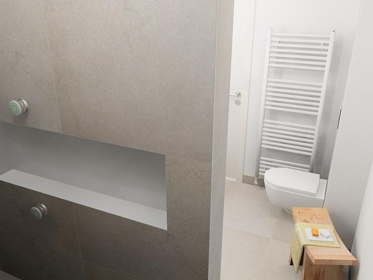 Minimalistisch licht en tijdloos is deze badkamer in de inloopdouche zijn boven en onder de - Badkamer meubilair merk italiaans ...
