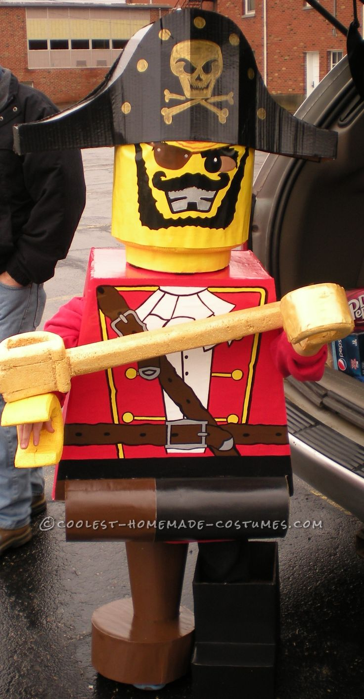 Prize-Winning Homemade Lego Minifig Pirate Costume for a 6 Year Old Boy… Online Halloween Costume Contest