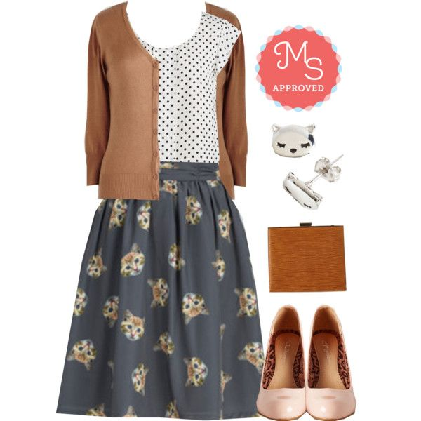In this outfit: It Had to be Mew Skirt, Star of the Seminar Top, Charter School Cardigan, Start Spreading the Snooze Earrings, Structure Your Day Bag, Gloss In Thought Heel in Blush