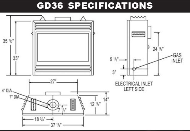 Gas fireplace insert rough opening dimensions zero for Fireplace dimensions plan