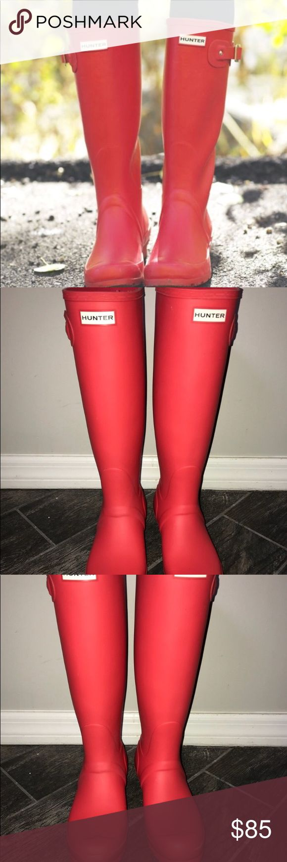 Red Hunter Boots size 8 Excellent condition. Hot red color. Worn once. Hunter Shoes Winter & Rain Boots