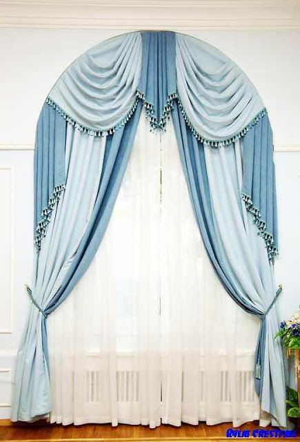 Blue window curtains for arched window treatmentBest 25  Arched window curtains ideas on Pinterest   Arched window  . Latest Curtain Designs For Home. Home Design Ideas
