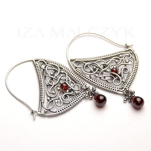 Fragola earrings by Iza Malczyk - fine and sterling silver, red garnet.