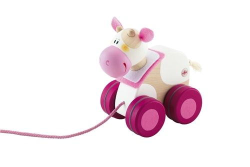 We are delighted to present the Mini Pull Along Wooden Cow by Sevi. The Pull Alongs are the most loved of the Sevi Wooden toys, they are loose jointed for fun movement and an ideal companion for your little ones first steps. The pull along range helps to develop motor skills, balance and coordination. All of these animals are produced to the highest standard and attention to detail.