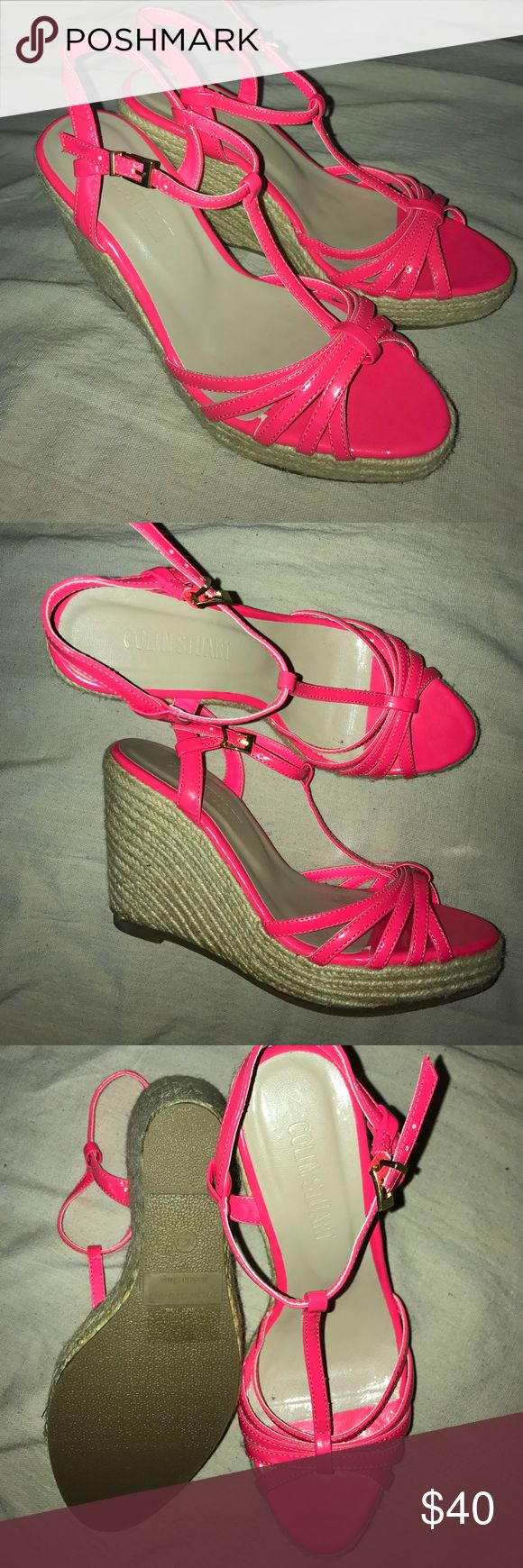 Colin Stuart Neon Pink Wedges Neon Pink Colin Stuart strappy wedges. Patent leather upper and woven wedge. Never worn. Size 7.5 Colin Stuart Shoes Wedges