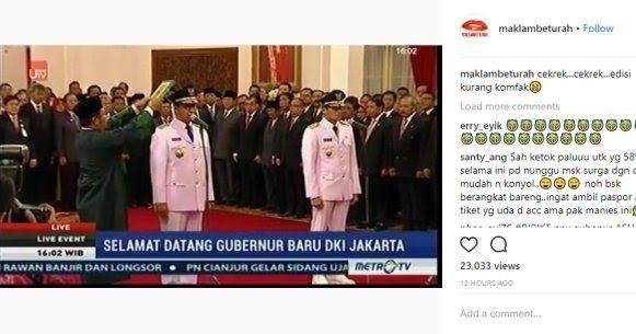 Tak Kompak Anies Sandi Di Minta Ulang Ucapkan Sumpah Jabatan Oleh Jokowi  ForumViral.com - Pelantikan Gubernur dan Wakil Gubernur DKI Jakarta, Anies Rasyid Baswedan dan Sandiaga Uno, akhirnya dilantik Presiden Joko Widodo di Istana Negara pada Senin (16/10). Acara pelantikan sempat ditayangkan di beberapa stasiun televisi.   #Jokowi #Ahok #AniesSandi #Inpress #Anies #Sandi #Pribumi  Selengkapnya http://www.forumviral.com/2017/10/tak-kompak-anies-sandi-di-minta-ulang.html