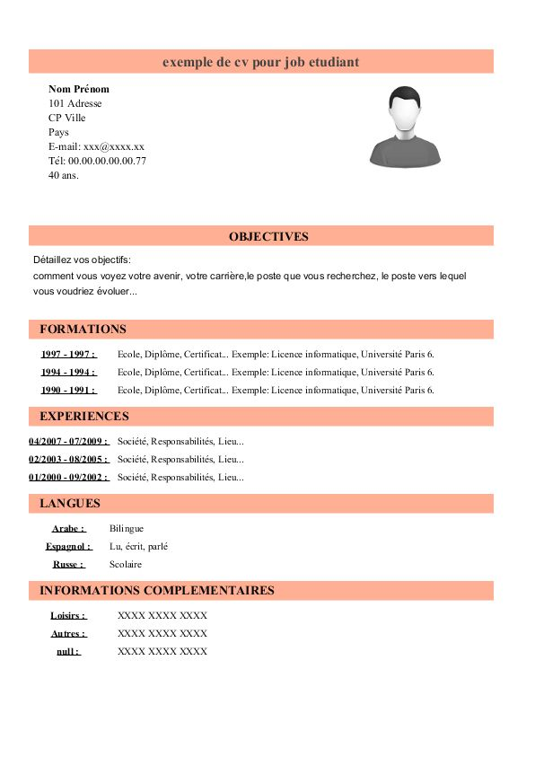 profile sur cv pour un etudiant