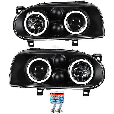 Scheinwerfer set vw golf 3 iii bj. #91-97 ccfl #angel eyes + osram lampen #schwar,  View more on the LINK: 	http://www.zeppy.io/product/gb/2/121709772522/