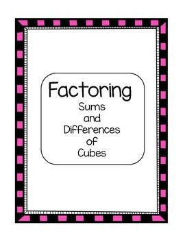 algebra factoring sums and differences of cubes skill sheet student the o 39 jays and qr codes. Black Bedroom Furniture Sets. Home Design Ideas