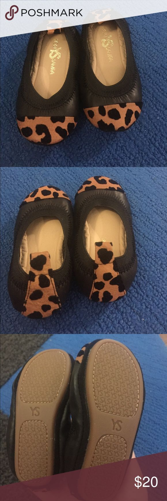 Adorable black leather toddler shoes Black leather with leopard print toe and back strip. Worn once. Great condition Yosi Samra Shoes Dress Shoes