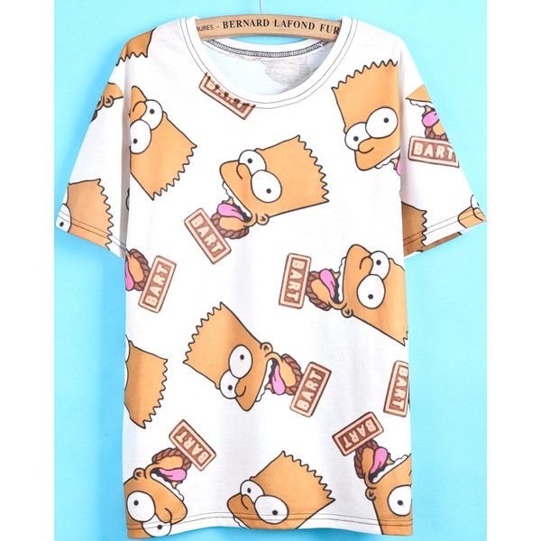 White Short Sleeve Simpson Print T-Shirt (57.065 COP) ❤ liked on Polyvore featuring tops, t-shirts, shirts, short sleeve tee, white shirt, print t shirts, white tee and white top