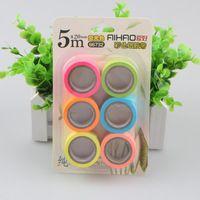 6 Unids/lote Seis Colores Kawaii Lindo Hermoso 5 m X 15mm DIY de La Manera Fluorescente Cinta Del Washi Papel de Oficina de la Escuela suministros de Papelería