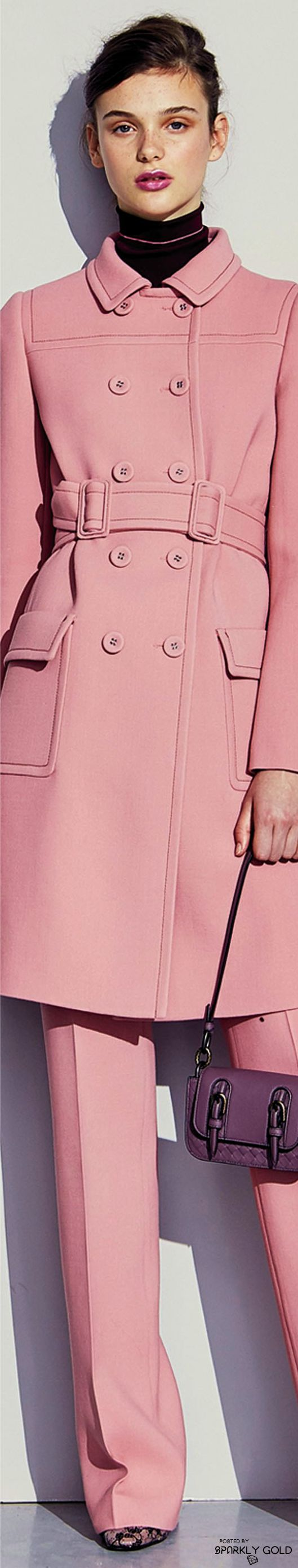 Coats in shades of pink - grabbing attention on a dark winter day ~ Cortigiana 2016 re. Bottega Veneta Pre-Fall 2017