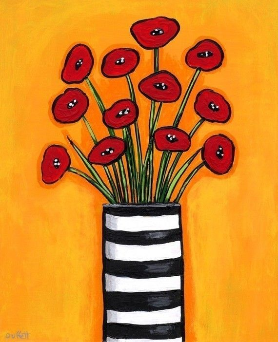 Red Poppies in Striped Vase Print by AliceinParis on Etsy