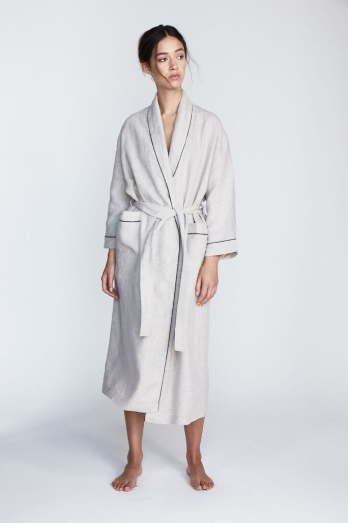 The 'Valentine' Robe in Silver - Andrea & Joen French Linen Loungewear Collection shot by Sylve Colless
