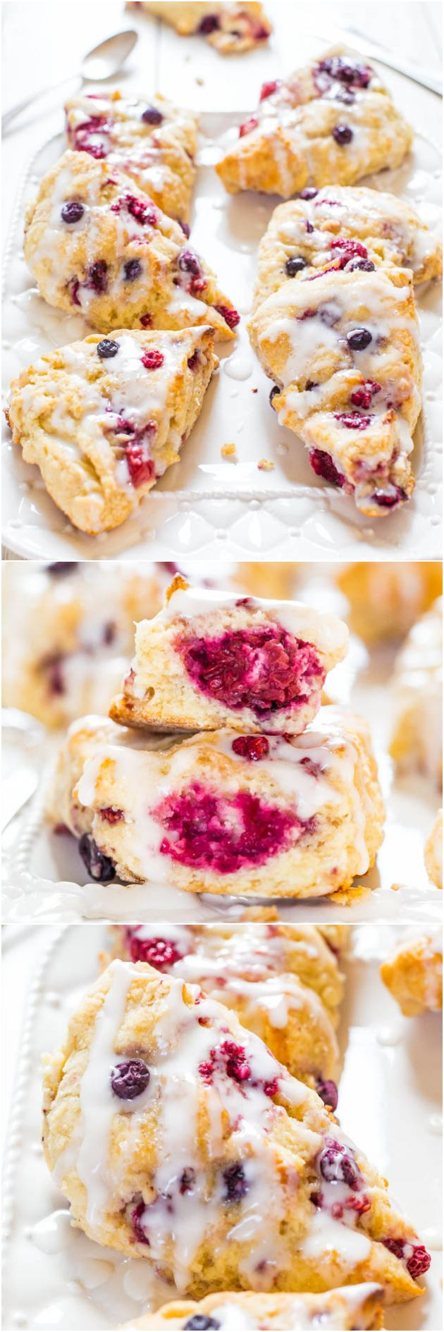 The Best Glazed Mixed Berry Scones - If you've always thought scones were dry, this easy recipe will change your mind forever!: Glaze Mixed, Breads Scon, Berries Scones, Recipes Scones, Mixed Berries, Avery Cooking, Thoughts Scones, Easy Recipes, Mind Forever
