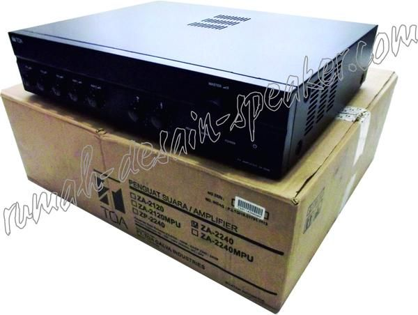TOA Mixer Amplifier ZA-2240  Output 240 Watt, 3 Microphone input 2 Input aux, 1 Rec out, Output speaker : com 4 ohm, 70 V, 100V.   Bisa untuk corong TOA 8 bh tipe ZH-5025B atau ZH-5025BM   Spec: Model: ZA-2240  Power Source: 220-240V AC (H version) or 24-30V DC  Rated Output: 240W  Power Consumption: 520W (AC operation at rated output). 238 W (AC operation at rated output). 15A (DC operation at rated output).  Frequency Response: 50 - 20.000 Hz (+3 dB)  Distortion: Under 1% at 1kHz, 1/3…