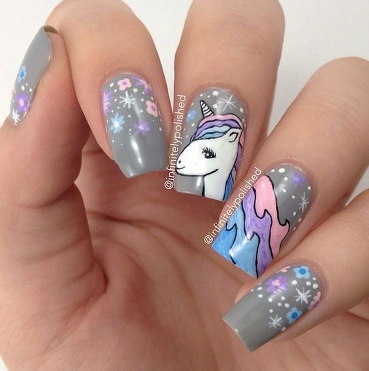 Nail Art Licorne - By Infinetelypolished