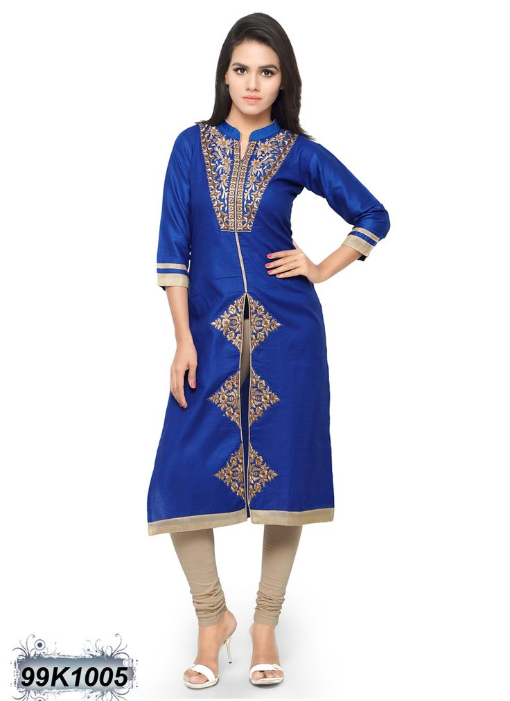 Elegant Blue Coloured Glace Cotton Embroidered Kurti