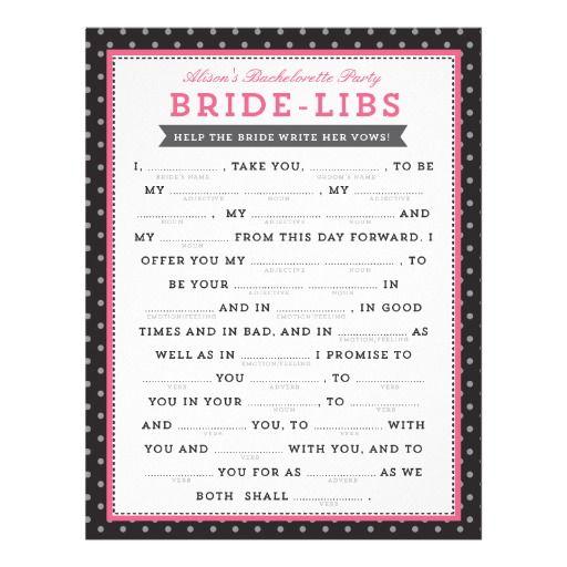 Black & Pink Bride Libs Game | Bachelorette Party Ideas | Pinterest ...