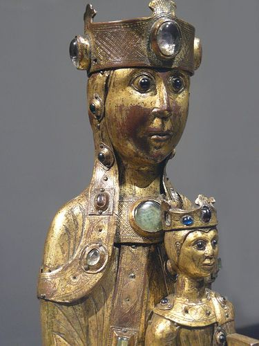 Virgin and Child Gilt Copper Champleve enamel crystal and glass cabochons French (Limoges) 1200 CE