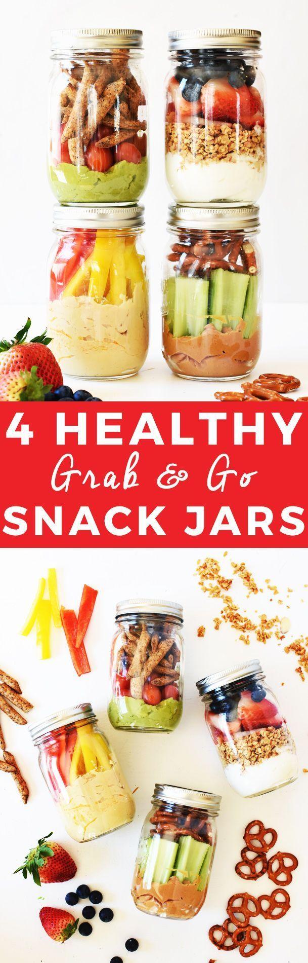 4 Healthy Grab-and-Go Snack Jars | healthy snack recipes, healthy snack jars, easy snack recipes, how to make a snack jar, healthy snack ideas, snack recipes healthy, snack jar ideas, on the go snack ideas || The Butter Half via @thebutterhalf via @thebut