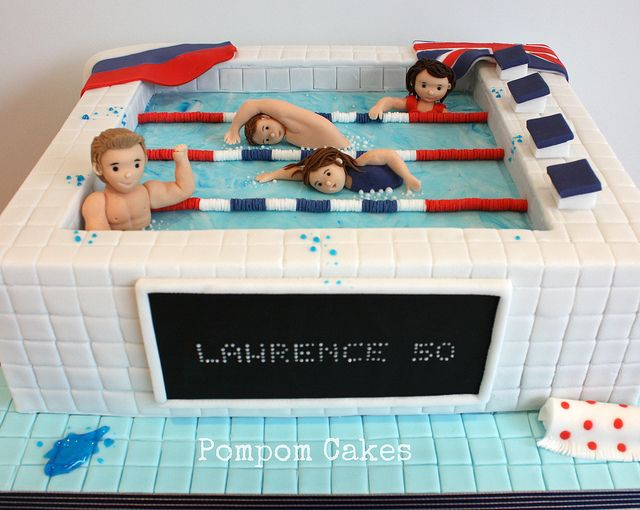 Swimming cake by Pompom Cakes, via Flickr