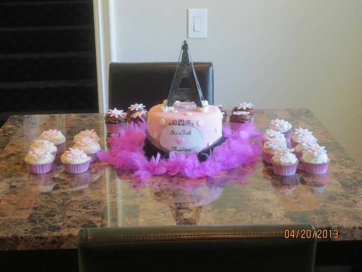 Paris Themed Baby Shower Cake And Cupcakes By Birdies Bakes!