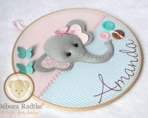 Quadro Maternidade Bastidor Elefante