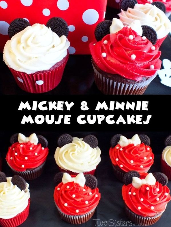 Mickey and Minnie Mouse Cupcakes for a Mickey Mouse Birthday Party by Rosebudd