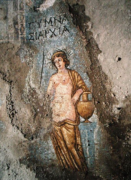 Pavement detail of a woman (mosaic). Roman / Akmoneia Gymnasium, Turkey / The Bridgeman Art Library