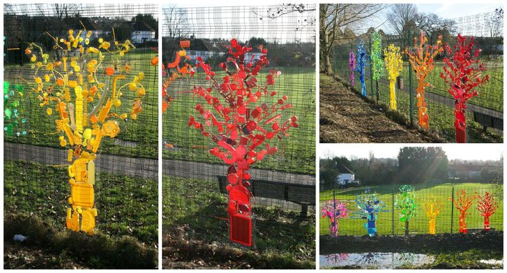 As an artist and educator, much of my work is site-responsive. I like to with both the community from the area my work is based on and use recycled materials from the site too. Recently I worked with children from a local primary school to create this beautiful installation of rainbow trees. Initial…