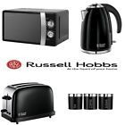New Black Microwave Kettle Toaster + Tea Coffee Sugar Canisters Kitchen Set of 4