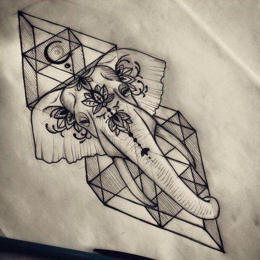f09dab9b2c910f601f75843e40130d0a geometric elephant tattoo elephant tattoo design