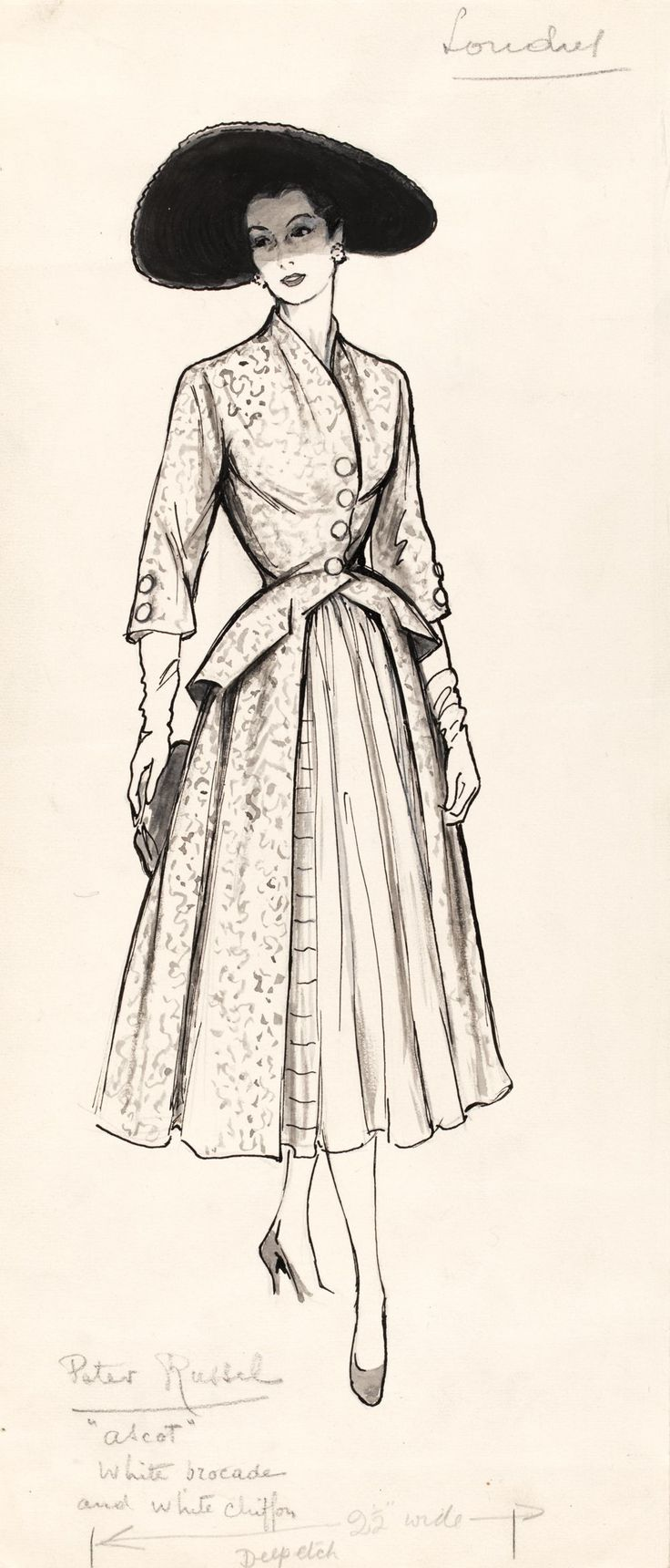 20th Century Fashion Drawing and Illustration: Marcel Fromenti, 1950's | V