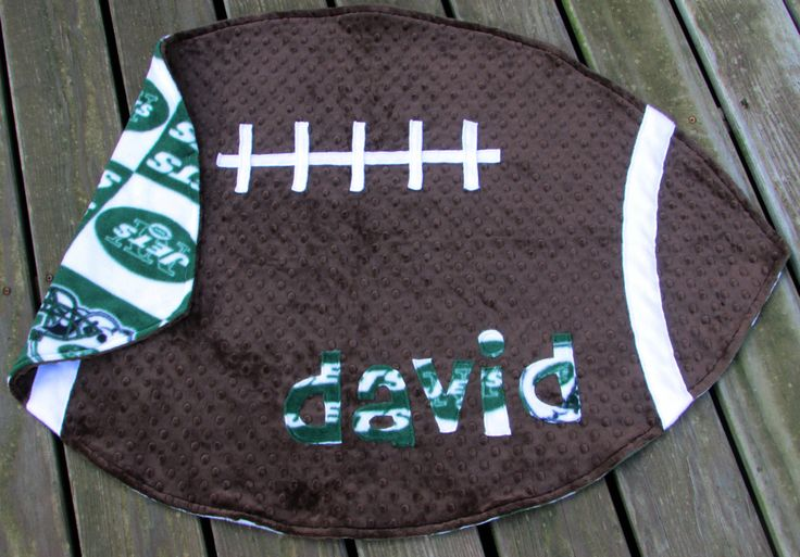 NY Jets Minky Football Blanket, NFL Nursery Decor, Baby Boy Girl Shower Gift, Gender Neutral, Toddler, Personalized, New York, Christmas by LovePitterPatter on Etsy  #NYJetsBaby #EtsyGifts #LovePitterPatter