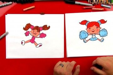 How to draw a cartoon cheerleader!