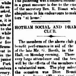 """Performance to aid family of Mr G Booth. Play 'The Octoroon'. """"Salem Scudder, Mr. J. B. Stanway"""". North Melbourne Advertiser, 19 Jun 1885, p. 3, 'Hotham social and dramatic club'."""