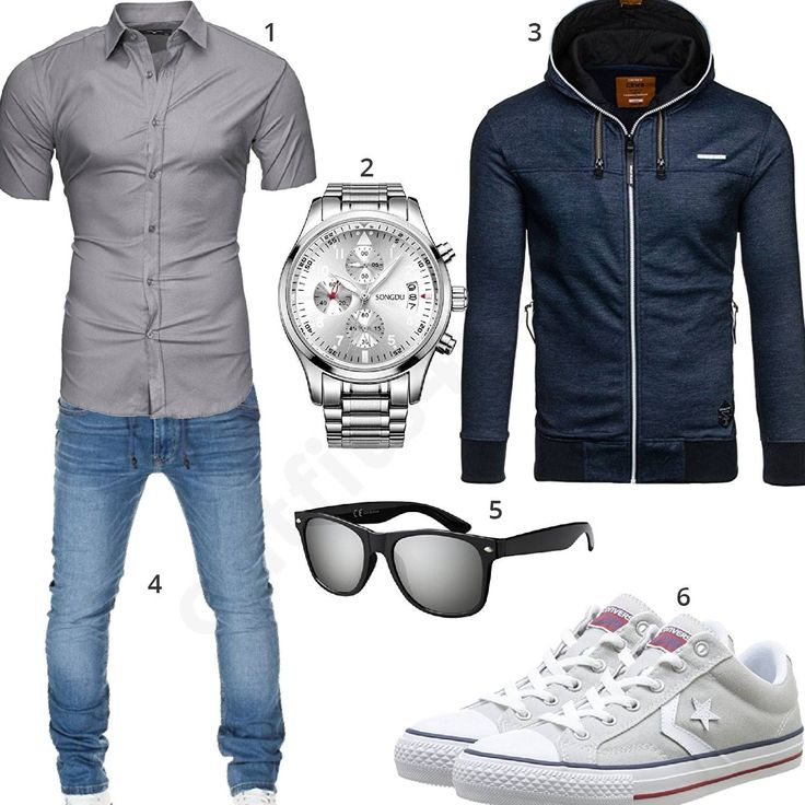 blau graues m nner outfit mit hoodie m0336 men 39 s fashion man style and clothes. Black Bedroom Furniture Sets. Home Design Ideas