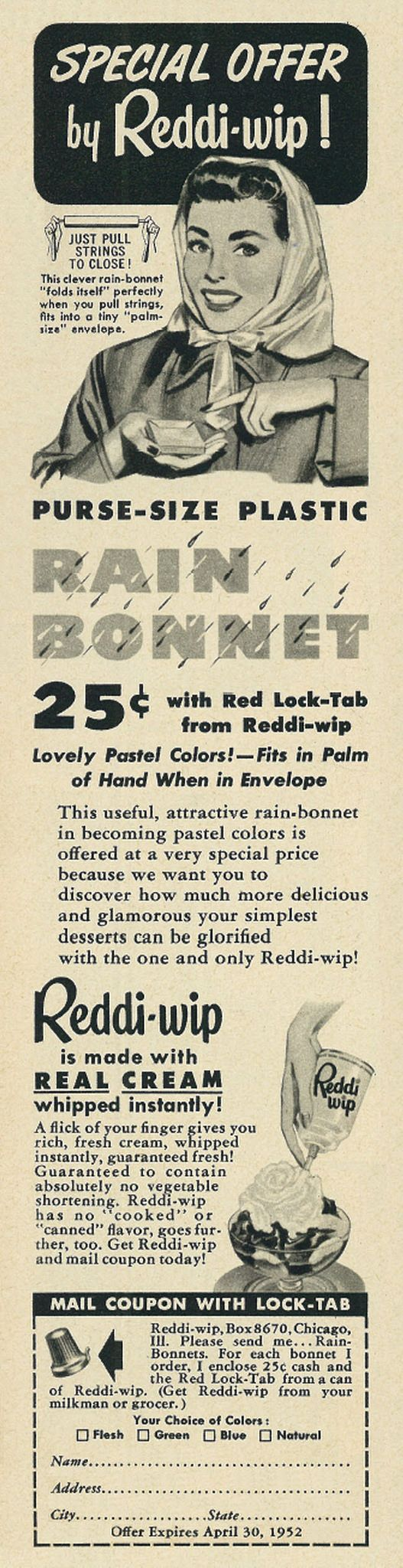 Illustrated 1952 Food Ad, Reddi-wip, with Plastic Purse-size Rain Bonnet Offer | Flickr - Photo Sharing!