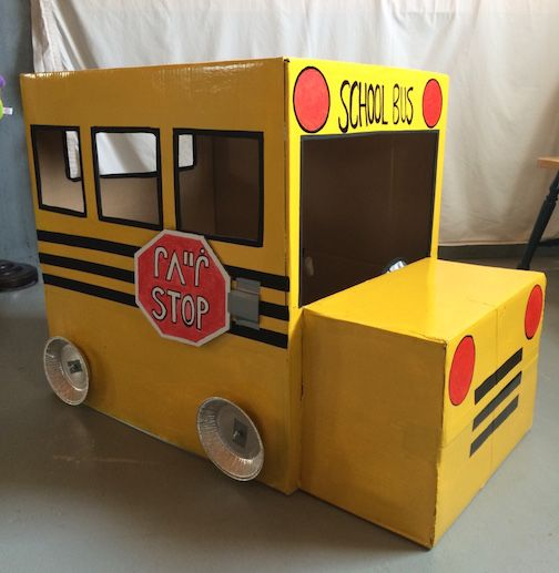 DIY homemade cardboard box school bus
